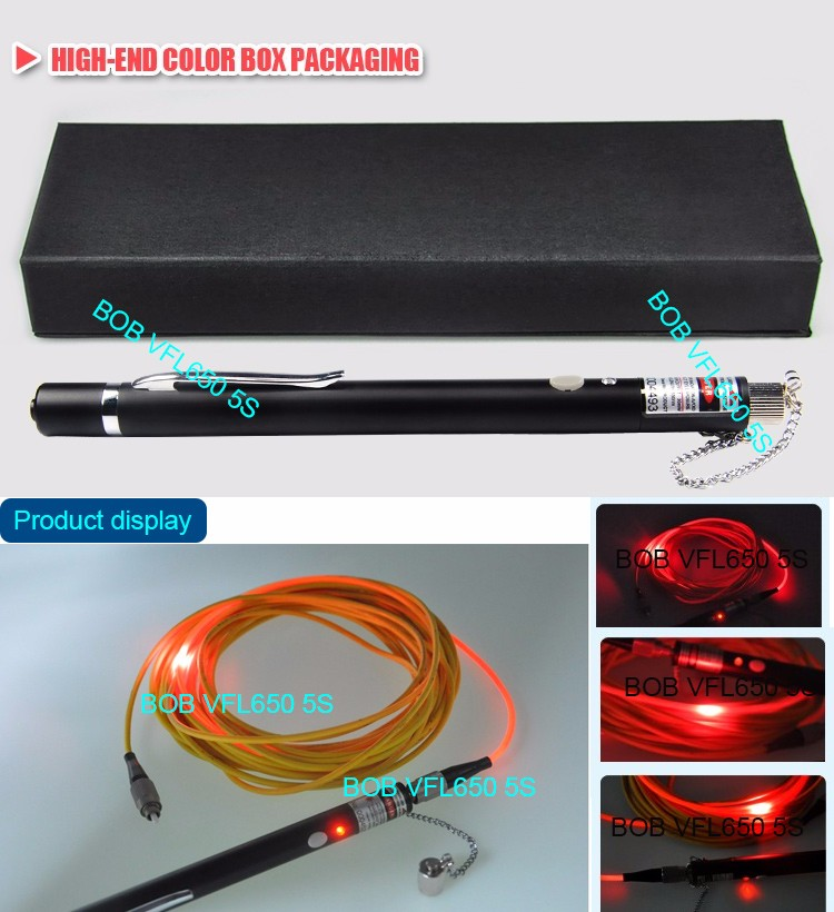 BOB underground Fiber Optic printer cable laser source light VFLtester pen 650nm red 50mw fiber optic visual fault locator
