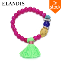 E-ELANDIS Red resin bead bracelet fashion lady's fashion turquoise bead bracelet