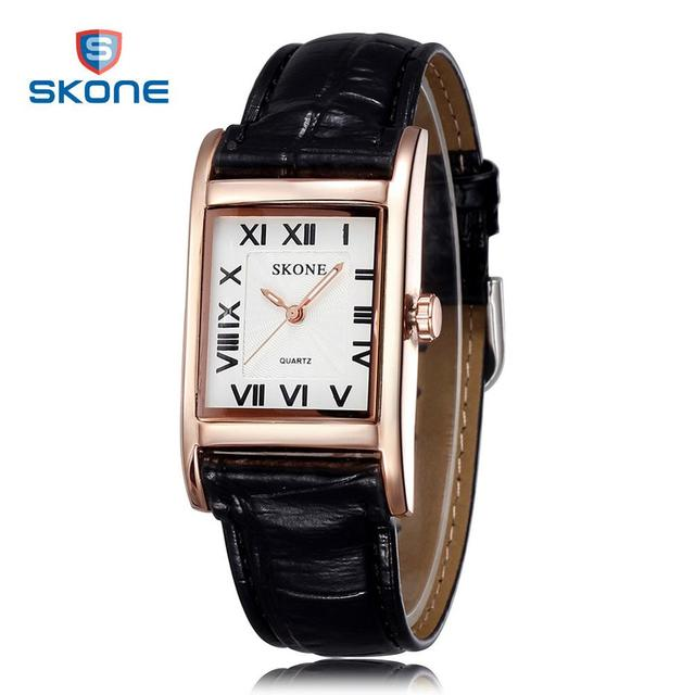 2016 SKONE Women Watches Luxury Brand Rectangle Leather Quartz Watches Womens Clock Fashion Female Wristwatches Relogio Feminino