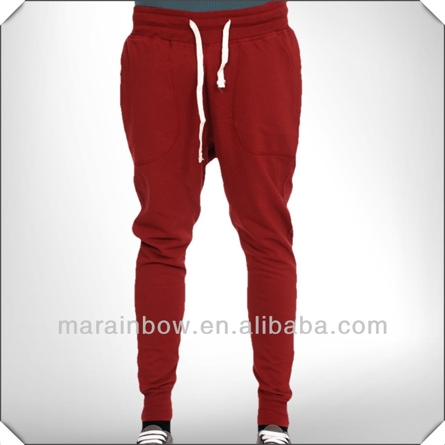 Polyester/Cotton Skinny Carrot Fit Jersey Jogger Pants with drop crotch