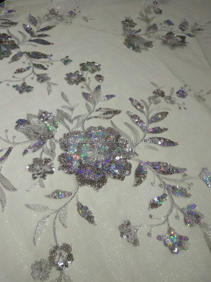 Better Price Flower Pattern Sequined Net Lace Fabrics