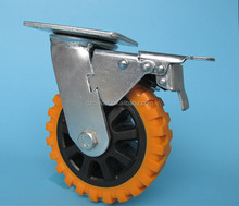 5inch 5mm heavy duty PVC hummer swivel caster wheel with plastic core total brake and 6202 bearing
