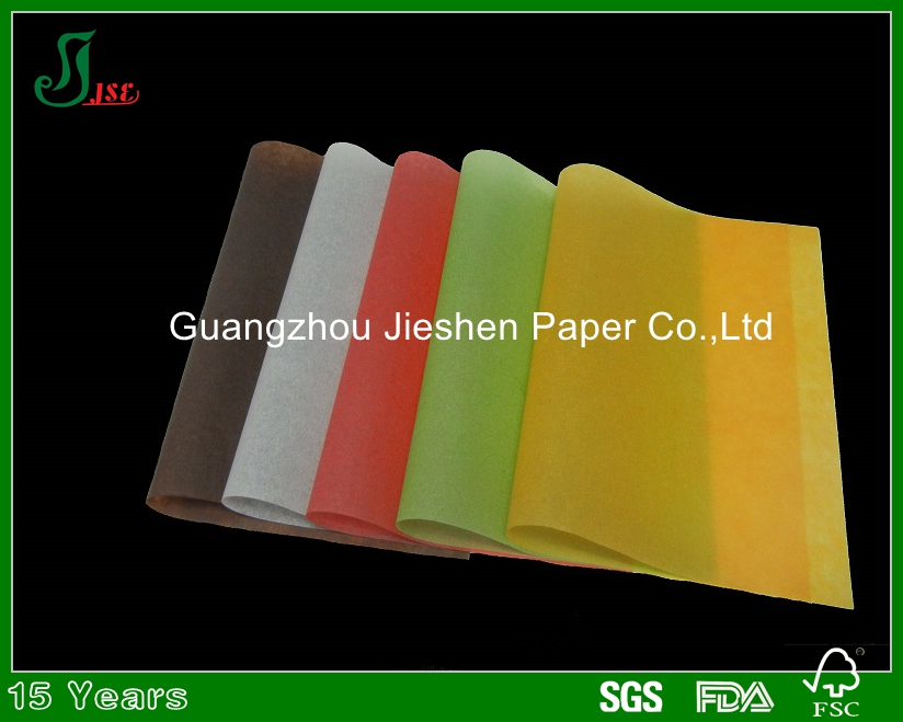 Top quality best selling colorful virgin wood pulp 40g oil resistant paper for food wrapping