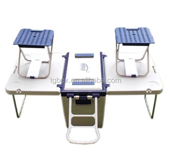 28l Foldable Table Cooler Box With Chairs And Wheels Outdoor Ice Chair Multifunctional