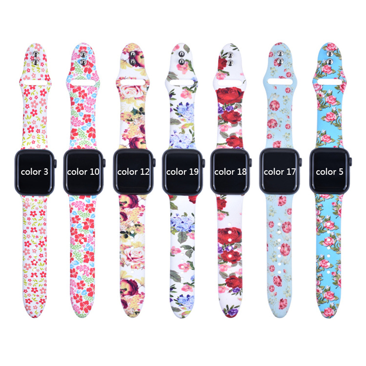 BOX-W Floral Band Compatible with Apple Watch 38mm 40mm 42mm 44mm Soft Silicone Sport Bands for Iwatch Series 4 3 2 1