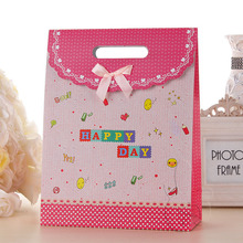 Wholesale paper packaging happy birthday gift bag with magic sticker