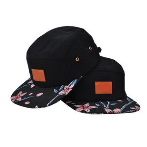 92c756a0956 custom blank 5 panel cap 5 panel leather strap back hats with metal buckle