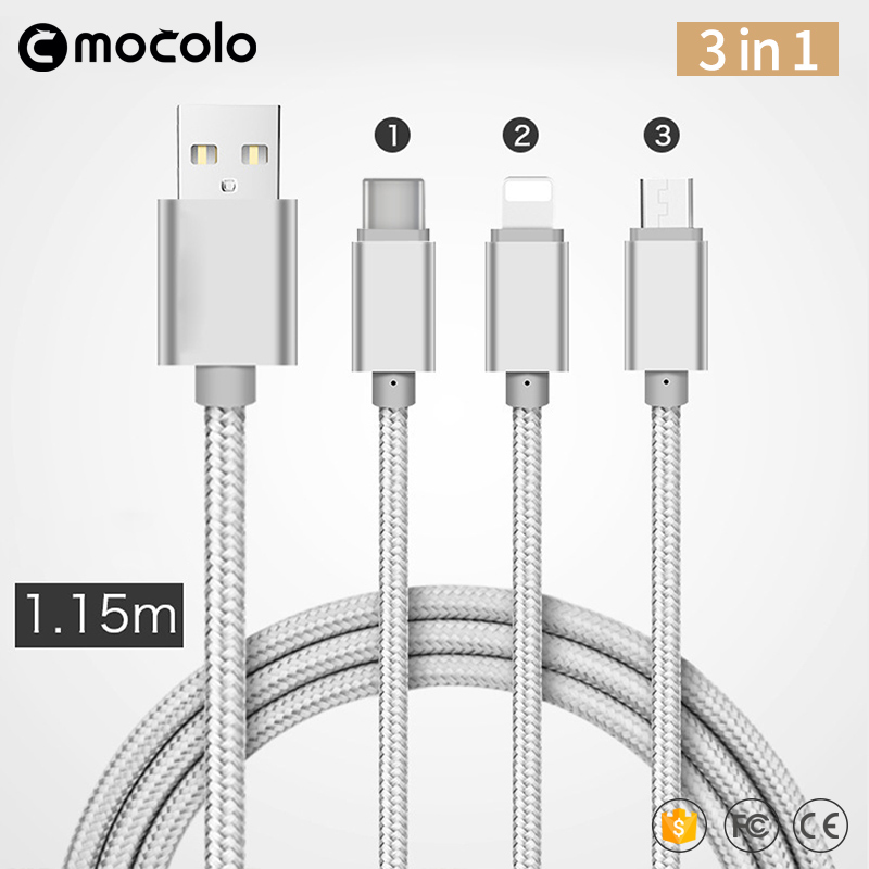 Mocolo 3 in <strong>1</strong> Charging Cable for iPhone/Micro/Type <strong>C</strong>, Multi-USB Charging Cable
