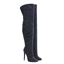 2017 Sexy high heel crystals thigh high woman boots