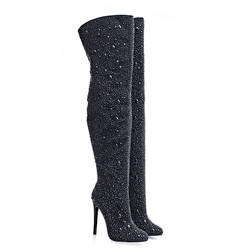 2018 Sexy high heel crystals thigh high woman boots