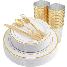 Gold Plastic <strong>Plates</strong> &amp; Plastic Silverware &amp; Gold Cups 150 Piece Premium Disposable Dinnerware Set