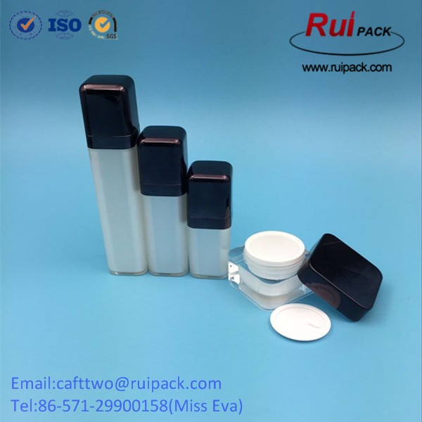 15/30/50ml square rotary airless lotion bottles with ABS cap