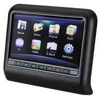 Black 9inch Car Headrest Mounting DVD Media Player Supports USB/SD/IR/FM/32-digit Game/Speaker