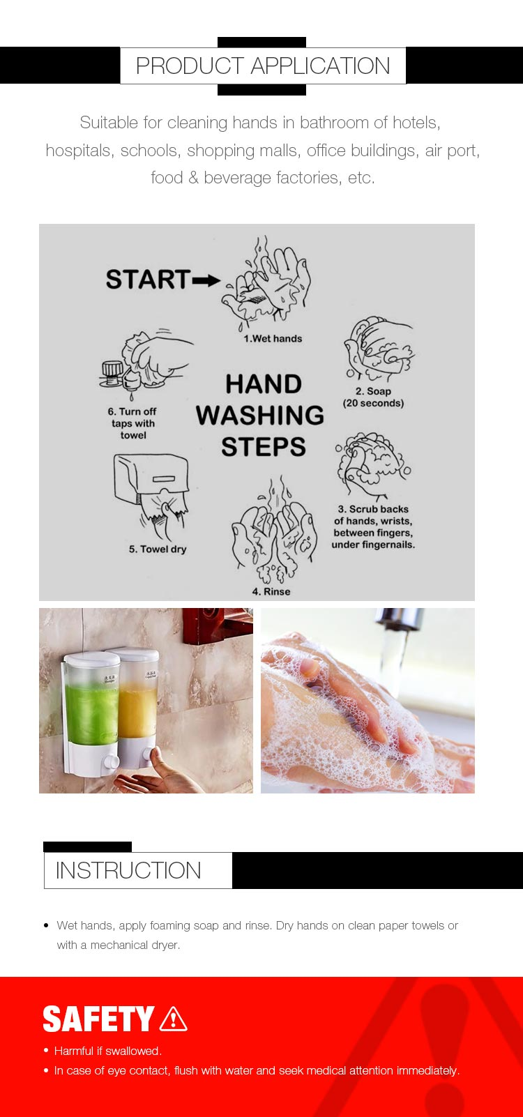 Liquid foaming hand soap for hand cleaning