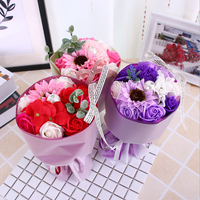 Best valentine gift artificial flower gift box rose soap flower bouquets