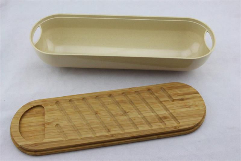 eco friendly white colour bamboo fiber custom bread bin with bamboo lid