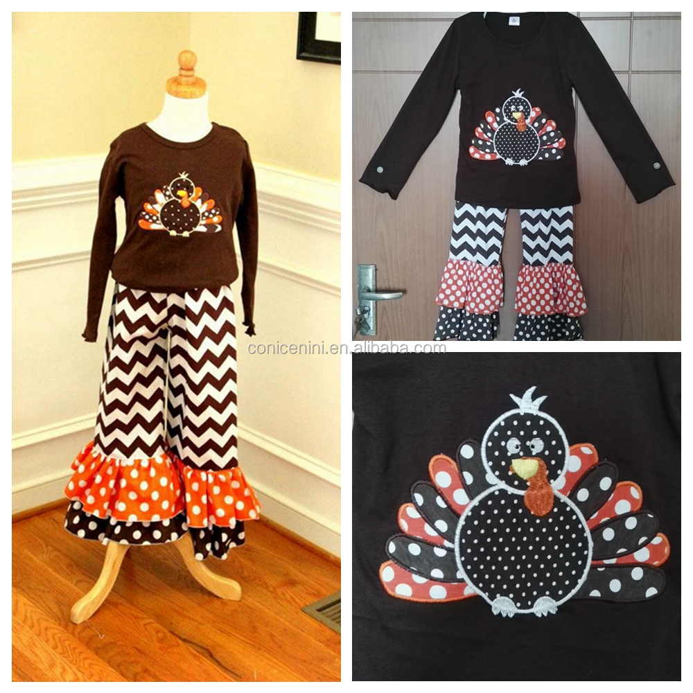 CONICE NINI Fashion Cotton Embroidery Turkey Chevron Young Girl Ruffle Clothes