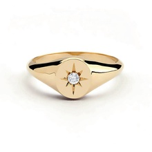 Custom North Starburst Gold Plated Zircone Stone Signet <strong>Ring</strong> For Women
