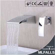 Cheap goods from china chrome brass bathroom basin faucet,single handle hot water tap,wall mounted waterfall MLFALLS