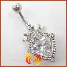 SSBD0089 Fashion Women Charm Crown And Heart Belly Button Ring Body Piercing