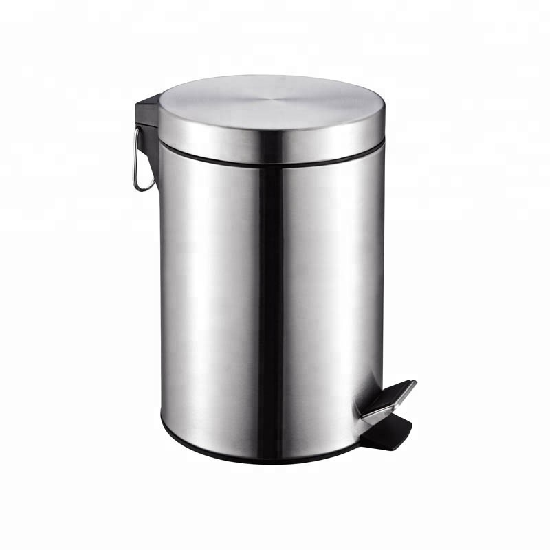 Bathroom Round Foot Ohotel Stainless Steel Pedal Trash Bin For Sale
