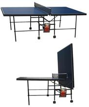 Simple Folding Table tennis table,Adults Indoor Type Pingpong table,15mm Tabletop Tennis table 25mm steal tube with 75mm wheels