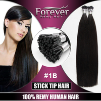 Forever double drawn #1B pre-bonded/fusion/kertain 100 indian remy human 1g stick tip hair extensions