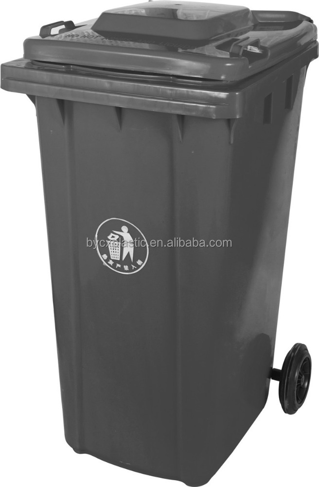 Parks Curbside Grey plastic waste bins garbage bin with heavy duty <strong>wheels</strong>