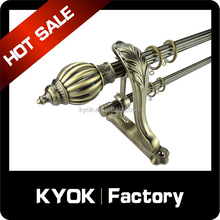 KYOK adjusted iron double curtain pole pipe, decorative twisted wrought iron curtain rods