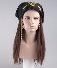 Halloween Party Christmas Costume Caribbean Pirates Jack Sparrow wig for men 002