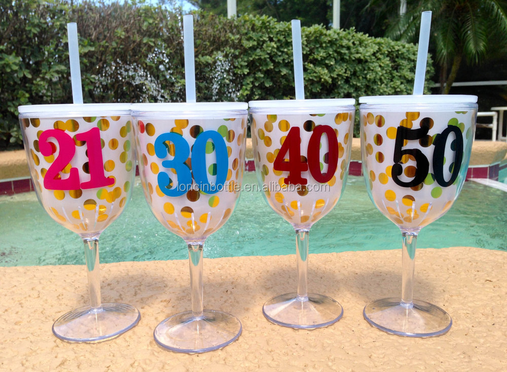 New Gold Glitter Wine Glass 13oz Wine Glasses With Lids Straw Double Wall Insulated Plastic