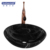 Black marble natural stone round basin for bathroom