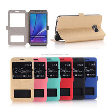 Window View PU flip leather case for Samsung Galaxy Note 5, For Galaxy Note 5 Stand flip case