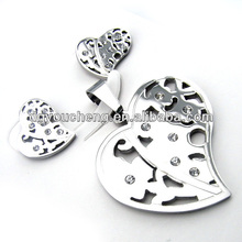 2014 latest design fashion stainless steel leaf shape jewelry sets