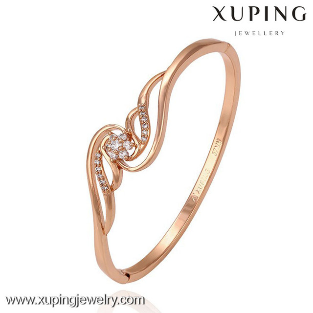 51264 xuping jewelry rose gold color imitation jewels shiny design strass flower bangle for ladies