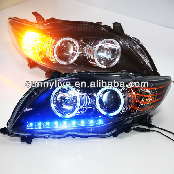 Corolla Altis Head Lamp for Toyota 2008-10 year Black bottom Blue Light V3 Type