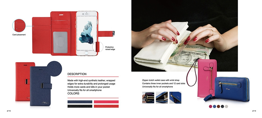C&T Ultra Slim Women Card Holder Long Purse Wallet PU leather case for iPhone 6