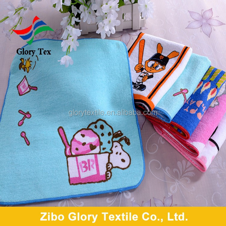 100% cotton velvet & printed squire hand towel china wholesal