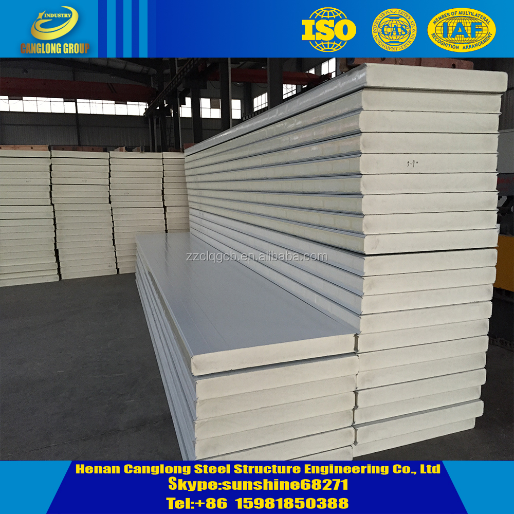 100mm 150mm thermal insulation PU sandwich panel for cold storage
