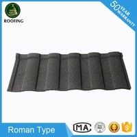 Hot selling Roman stone chip coated metal roof tile,sand coated metal roofing sheet for wholesales