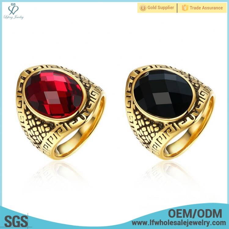 New design tibetan women red stones antique gold finger ring jewelry