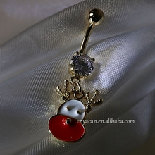 Navel Piercing Christmas Deer Belly Button Rings