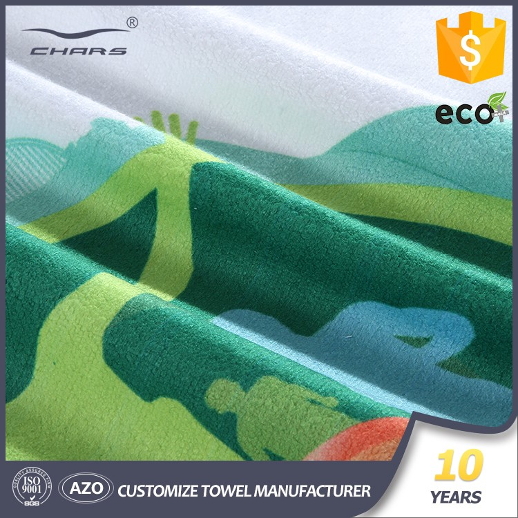 Custom design Brand name 1 years warranty Knitted -fabric Technic digital printed logo microfiber Advertising towel with 400 gsm