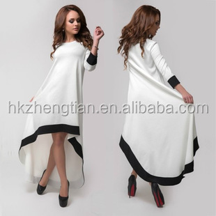 2015 Instyles new design women wear woman summer clothes long sleeve loosed dress white color fashion dress