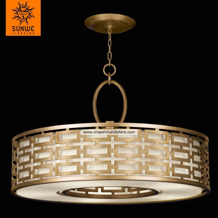 Chinese traditional gold metal fabric 5 lights ceiling light design fixture
