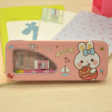 Popular China multifunction multiplication table metal tin double sided pencil box