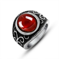 Noble and Elegant Titanium Steel Red Wide Band Diamond Ring