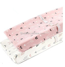 Stretchy Changing Pad Covers- Knit Change Pad Covers For Girls Boys,Pink & White Arrow
