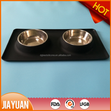 Waterproof one-piece silicone pet food mat with stainless steel dog bowl