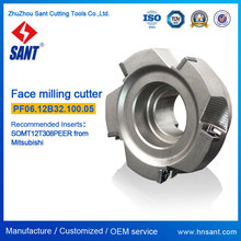 Right-angle milling cutter PF06.12B32.100.05 matched Mitsubishi carbide inserts SOMT12T308PEER with Nickel coating